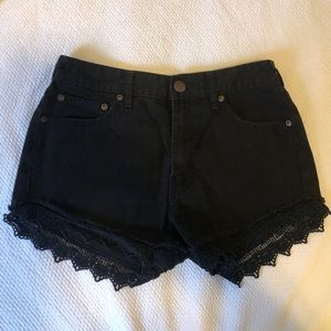 Free people black denim shorts